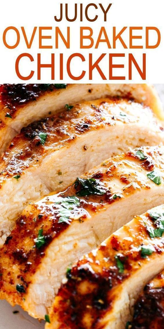 JUICY OVEN BAKED CHICKEN BREASTS! Simple and easy method for how to make perfectly juicy and deliciously seasoned oven baked chicken breasts.