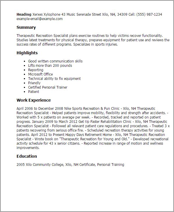 Recreation Specialist Sample Resume cvfreepro