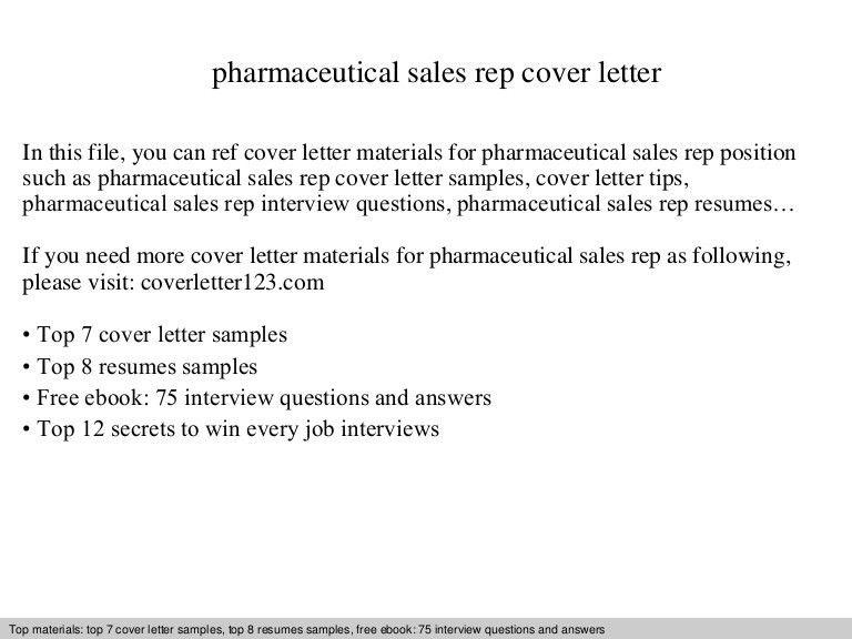Pharmaceutical Representative Cover Letter Sales Cover Letter - sample cover letter for sales job