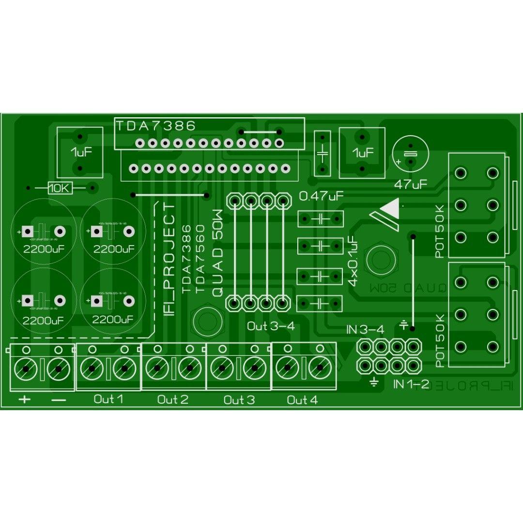 Quad 45W Tda 7560 /7386 /7388 | Circuit diagram, Pcb ...