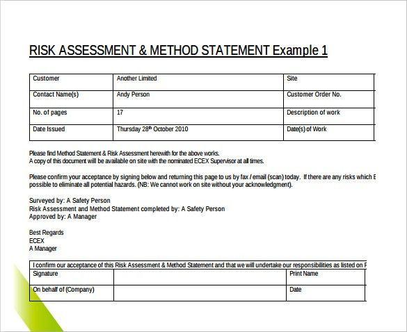 Method Of Statement Sample madebyrichard - method of procedure template