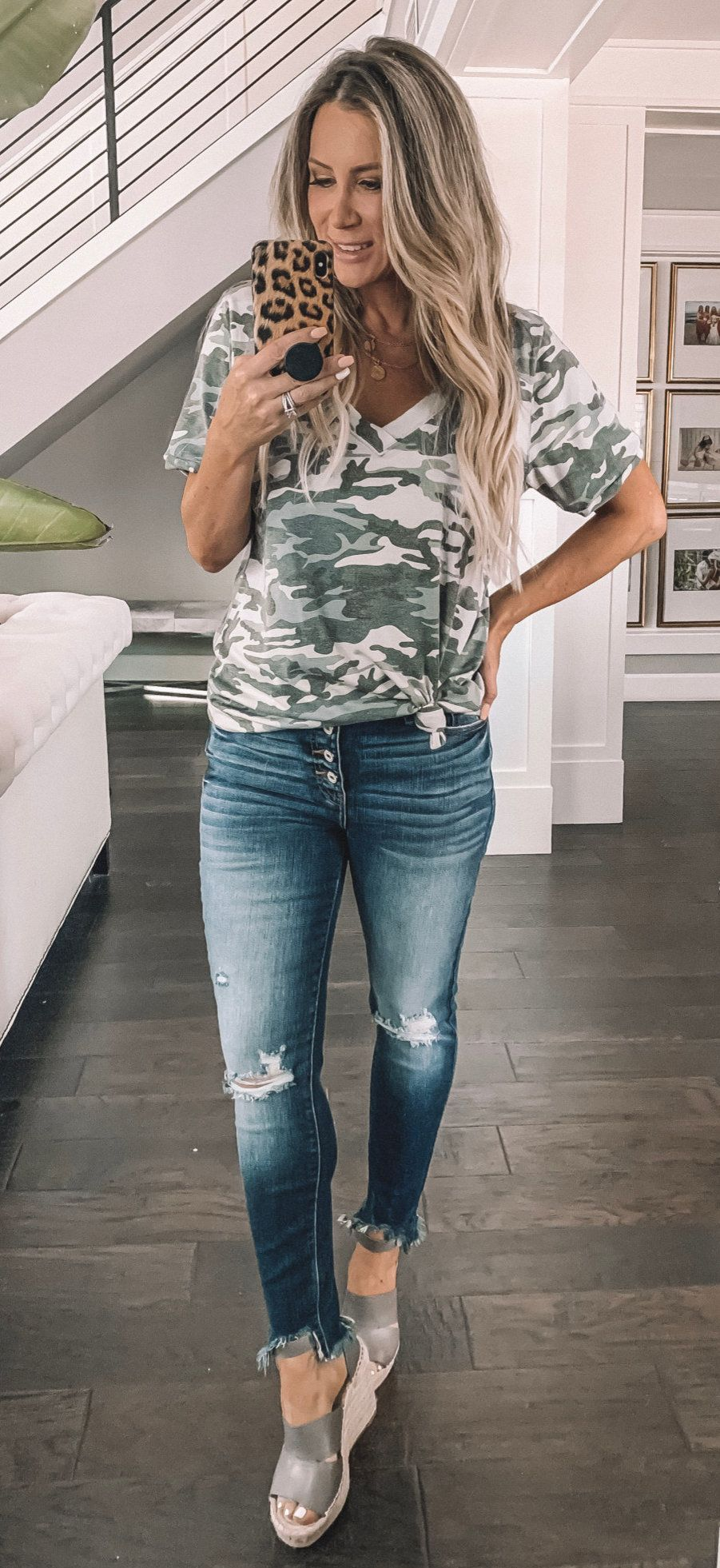 gray and black camouflage t-shirt #spring #outfits