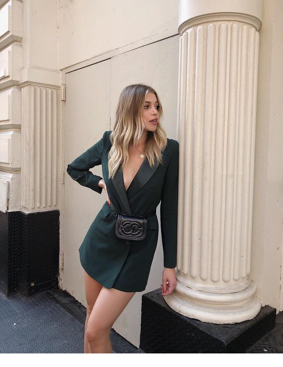 Blazer dress and a little bag