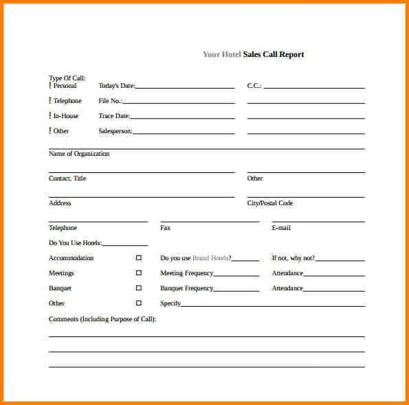 sales visits report template