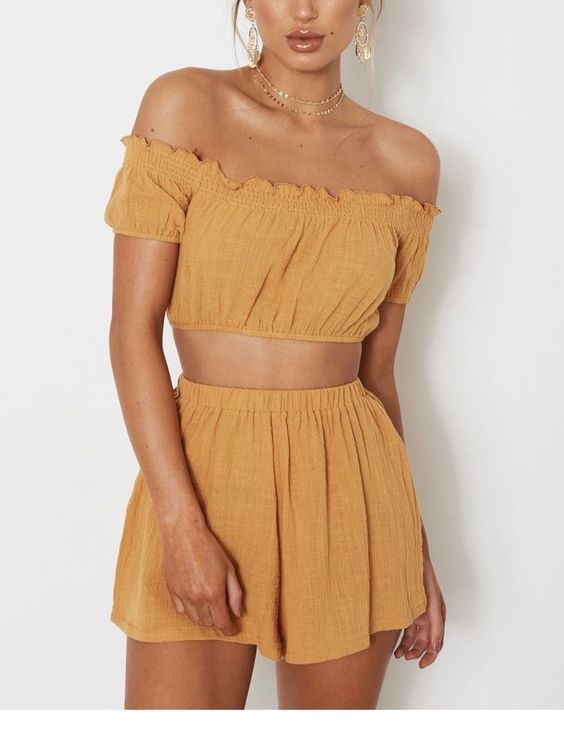 Cute yellow crop top and skirt