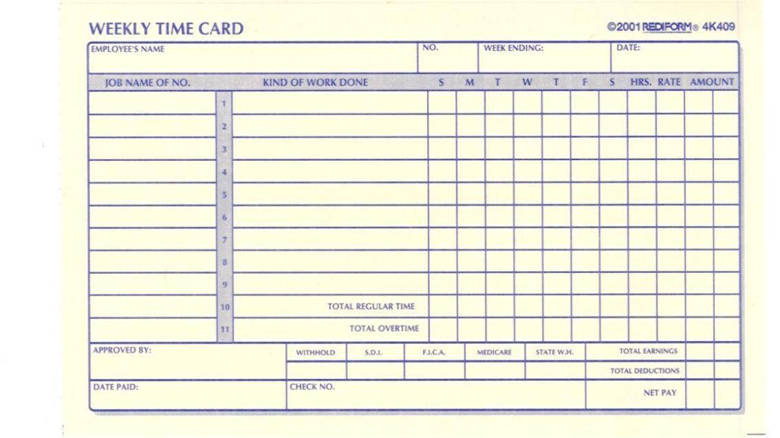 printable time card