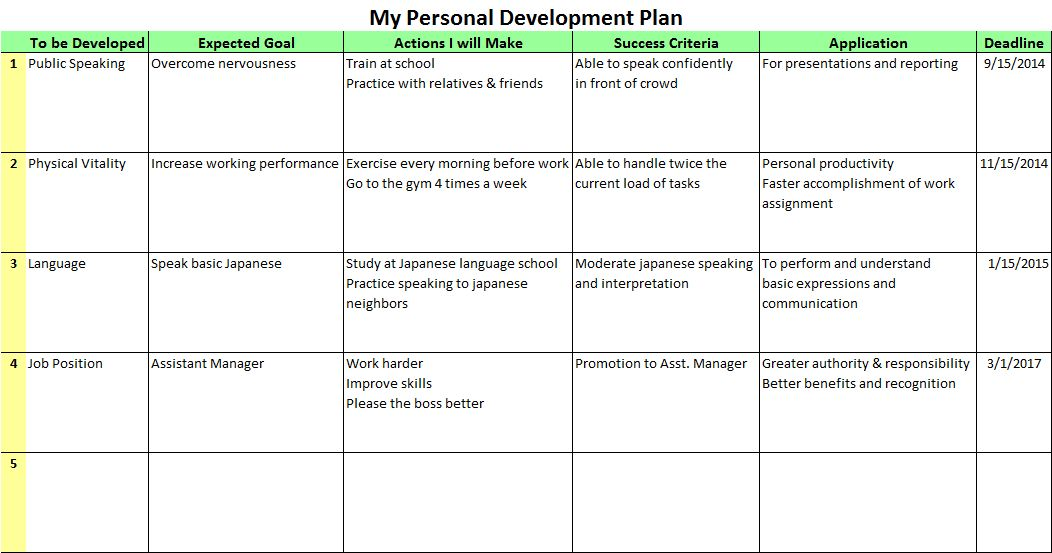 Template For Personal Development Plan Sample Personal - career progression plan template