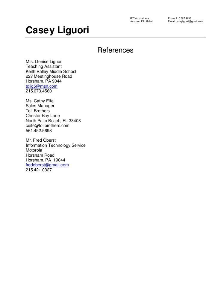 Examples Of Resume References Examples of Resumes