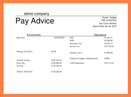 payment advice format word