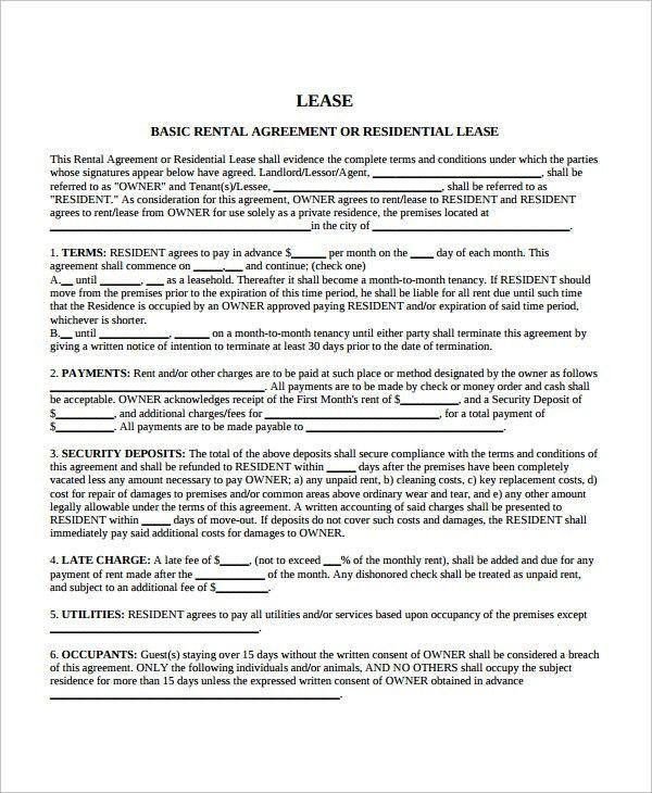 Blank Rental Lease Printable Sample Rental Lease Agreement - apartment rental contract sample
