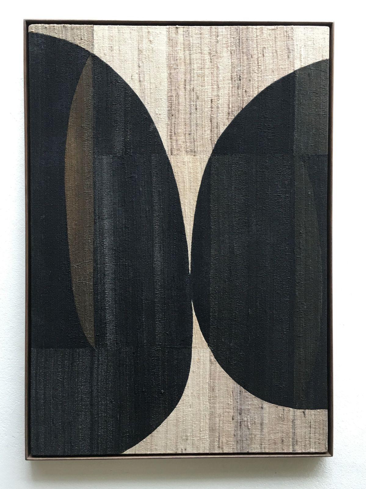 handwoven individually dyed silk on wooden panelhardwood framesize 62 x 43 cm