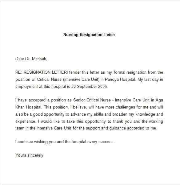 Sample Resignation Template Free Letter Of Resignation Template - formal resignation letter