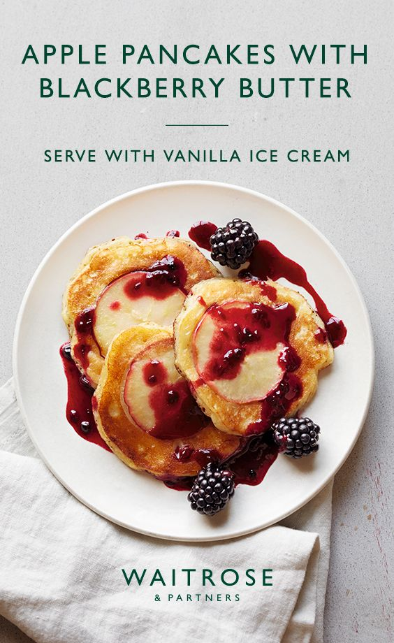 Apple pancakes with blackberry butter