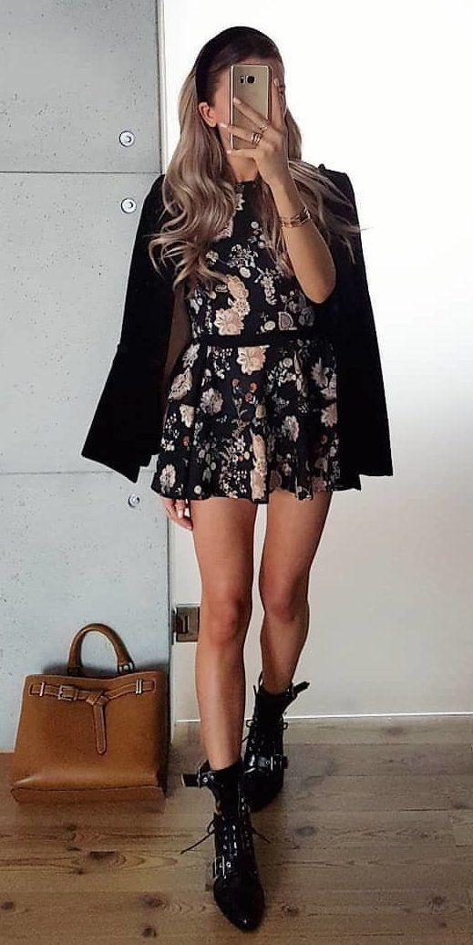 black and white floral dress #spring #outfits