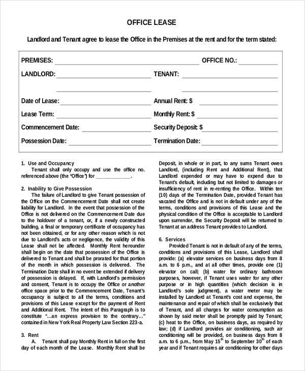 Simple Lease Template Sample Lease Agreement Free Download - sample office lease agreement