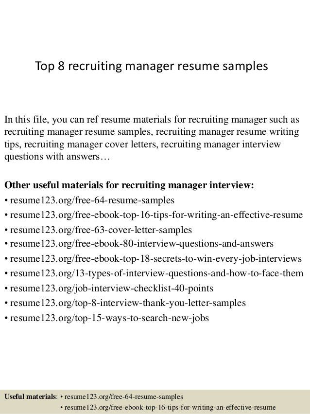 Recruiter Sample Resume