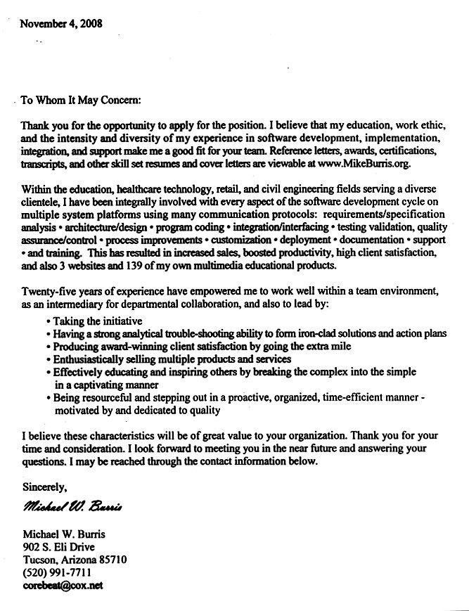 integration - Integrator Cover Letter