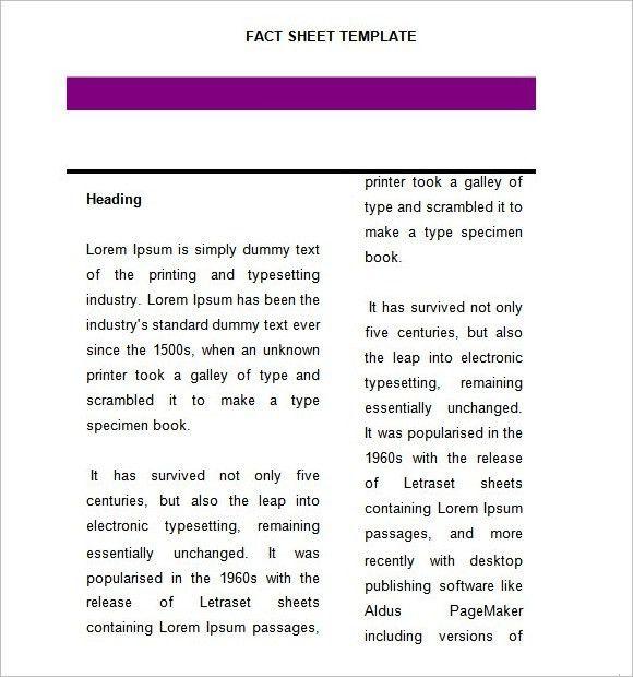 ... Microsoft Word Fact Sheet Template Fact Sheet Template 15 Free   Fact  Sheet Template Word ...