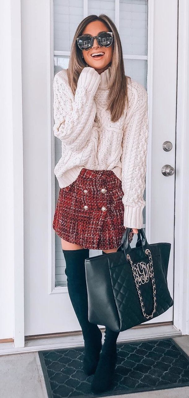 white sweater, red mini skirt, and pair of black boots outfit #spring #outfits