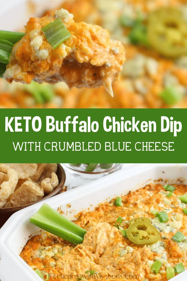 Keto Easy Buffalo Chicken Dip recipe with blue cheese is the perfect football game day recipe! Keto Recipes | Dip Recipe #food #recipes #chicken #dip #keto #ketodiet