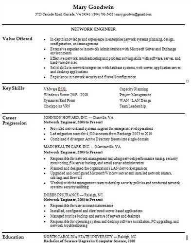 resume samples for network engineer