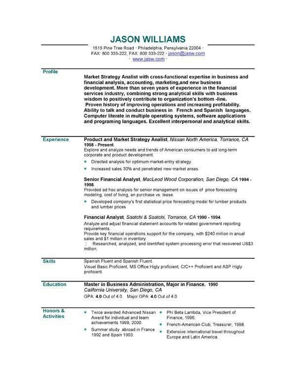 Resume Personal Profile Example - Examples of Resumes