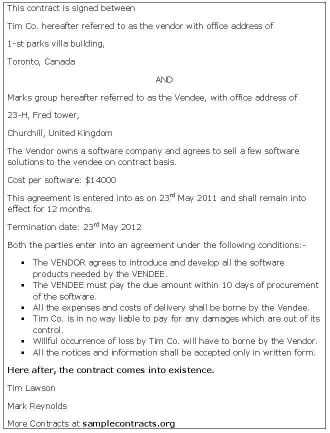 Vendor Contract Agreement 10 Vendor Agreement Templates Free - contract agreement format