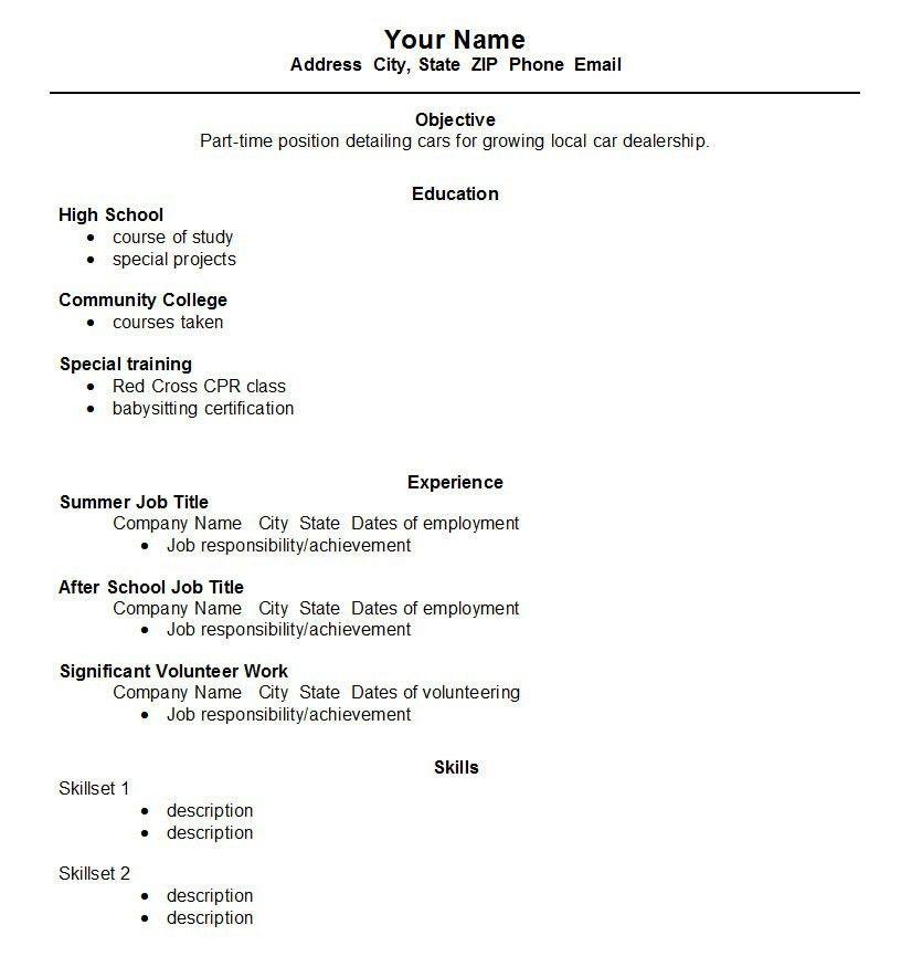 Summer Job Resume Examples Unforgettable Summer Teacher Resume - resume template for first job