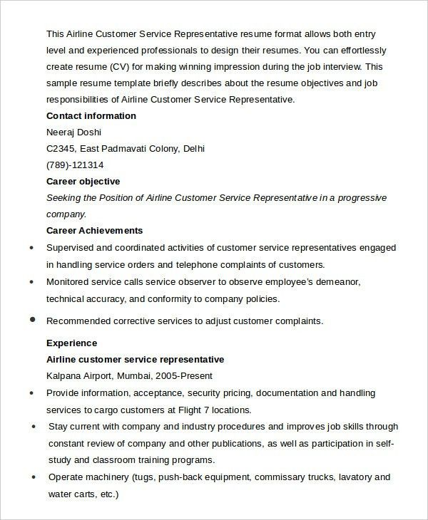Professional airline customer service agent templates to showcase - airport customer service agent sample resume