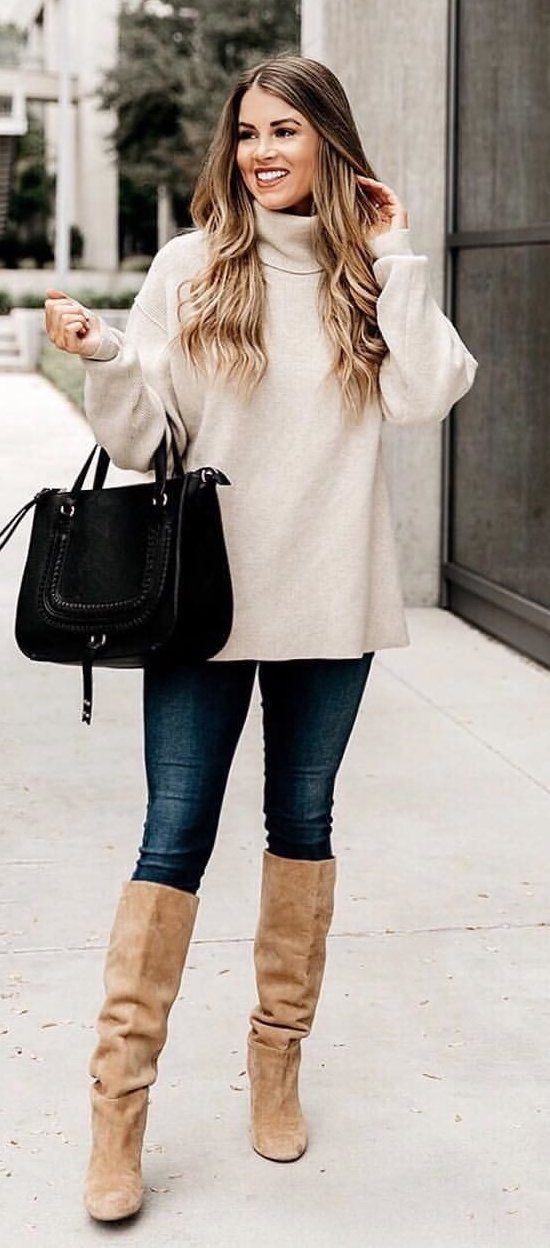grey turtleneck sweater, blue denim pants, brown knee-high boots outfit