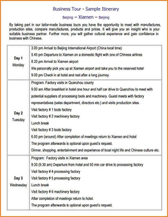 Business Meeting Itinerary Template Meeting Itinerary Template 4 - business itinerary template