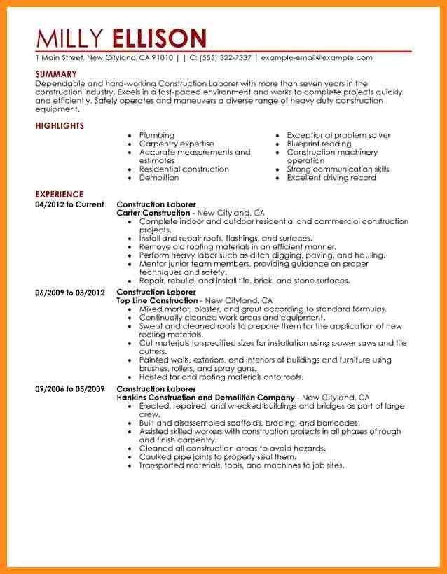 Sample Resume Construction Project Manager Of Worker Examples