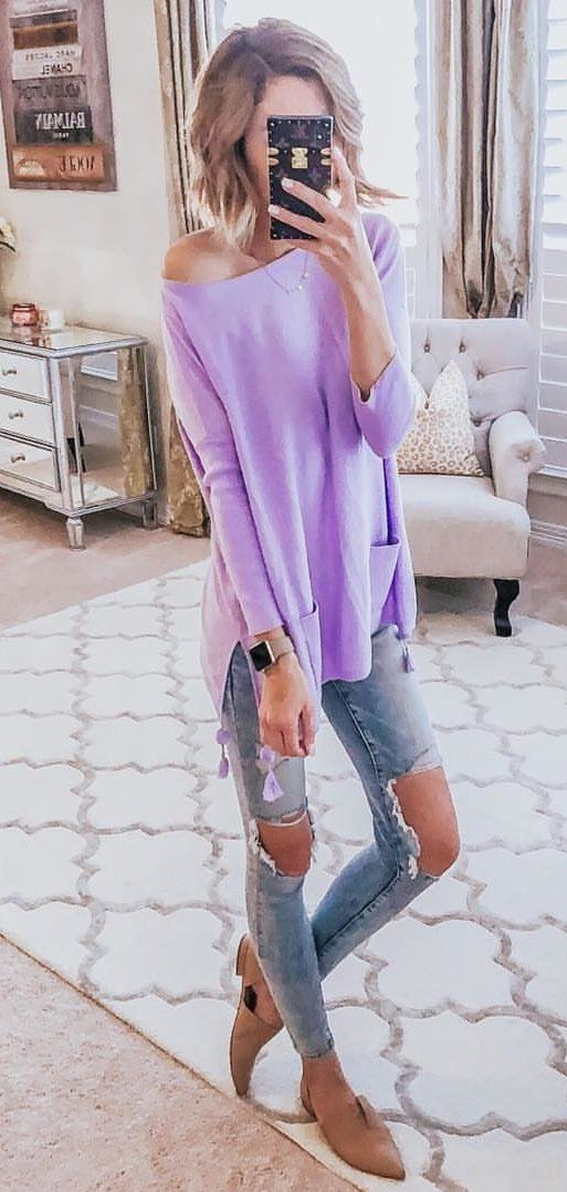 purple off-shoulder long-sleeved shirt #spring #outfits