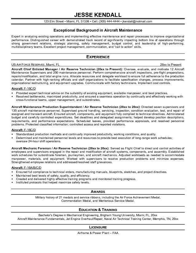 Aviation Maintenance Technician Sample Resume Unforgettable