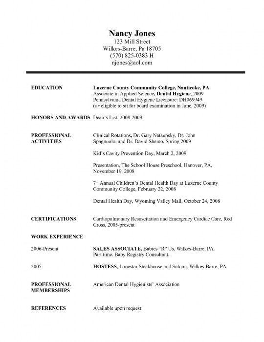 Dental Resume Format Medical Dental Resume - dental resume template