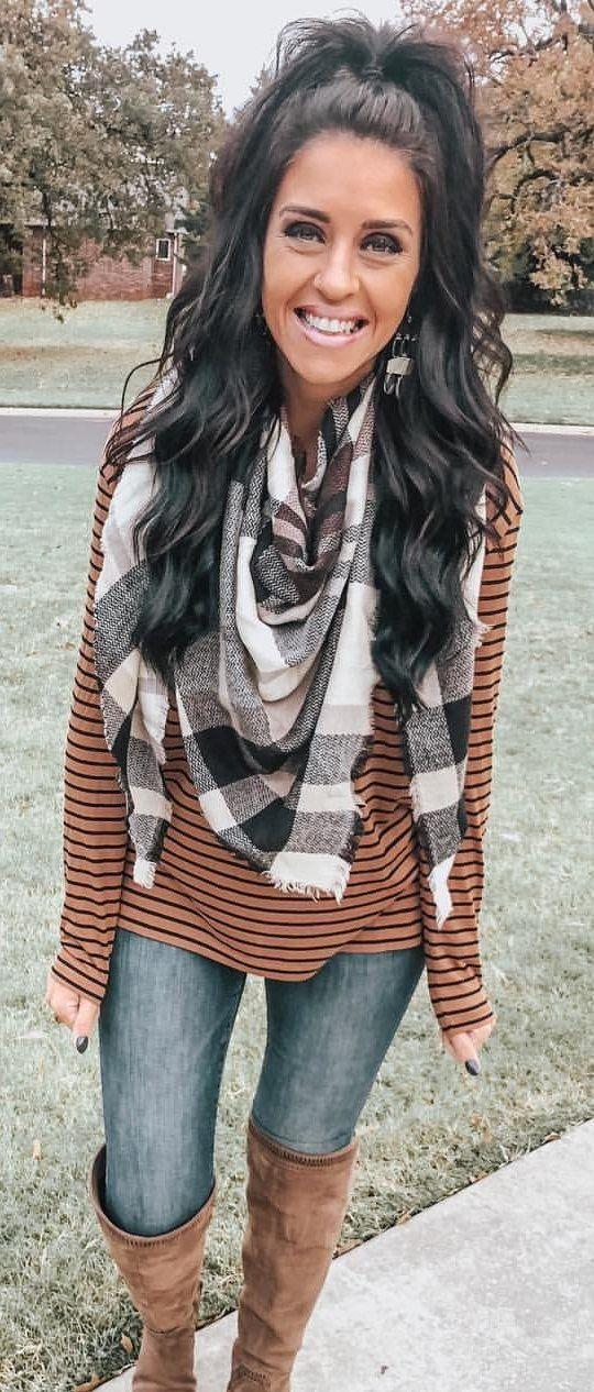 brown striped sweatshirt