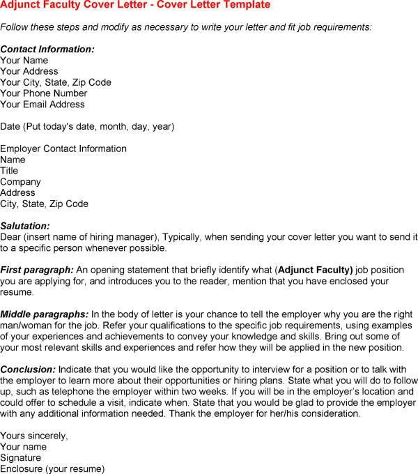cover letter for adjunct teaching position cover letter for when to send a cover letter
