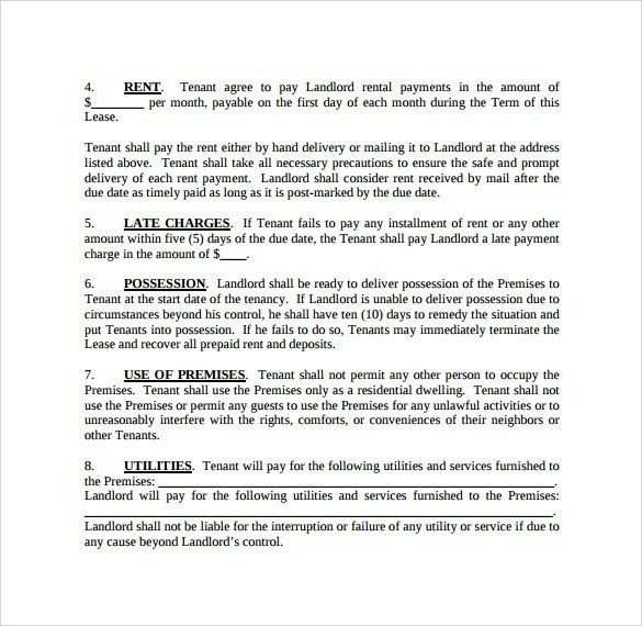Printable Rental Contract Free Rental Forms To Print Free And - rent contract templates