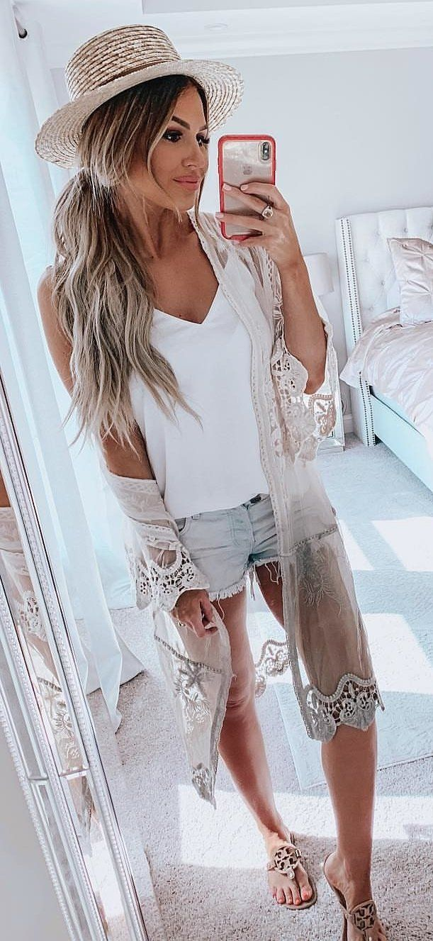 white V-neck sleeveless top #spring #outfits