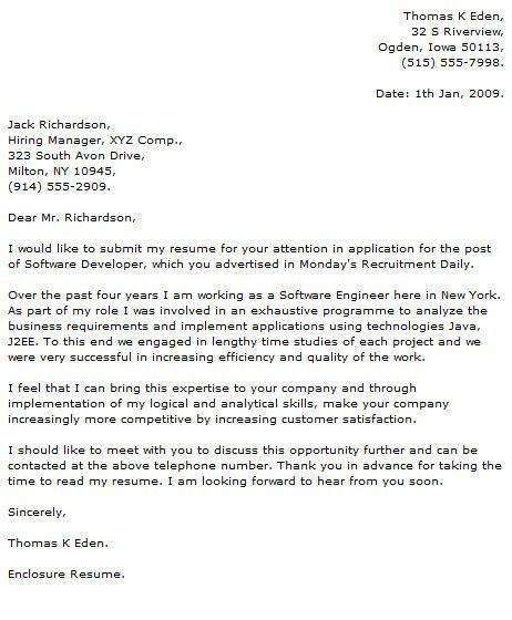 Sample Cover Letter Programmer Computer