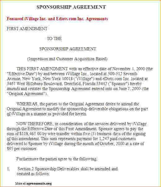Sponsorship Contract Template Sponsorship Agreement Template - sponsorship contract template