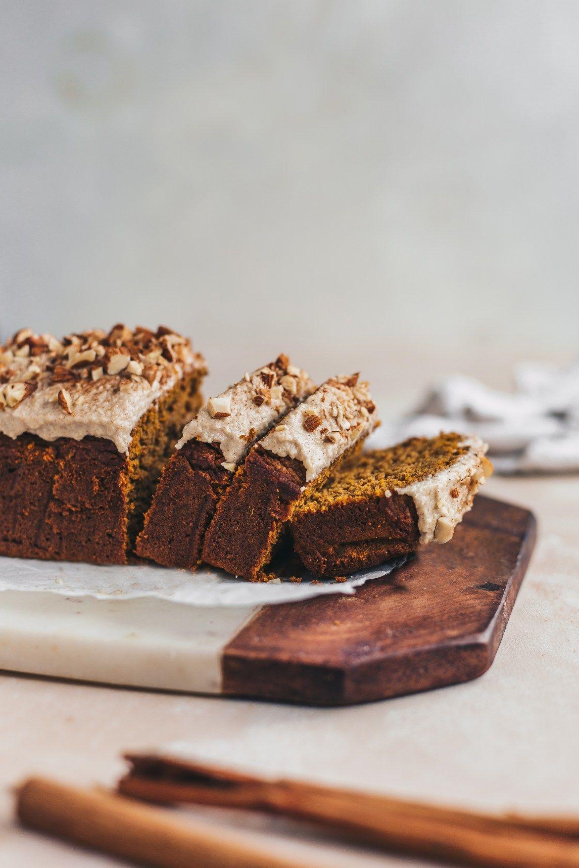 ... healthy oatmeal pumpkin bread with cashew frosting ... #recipe
