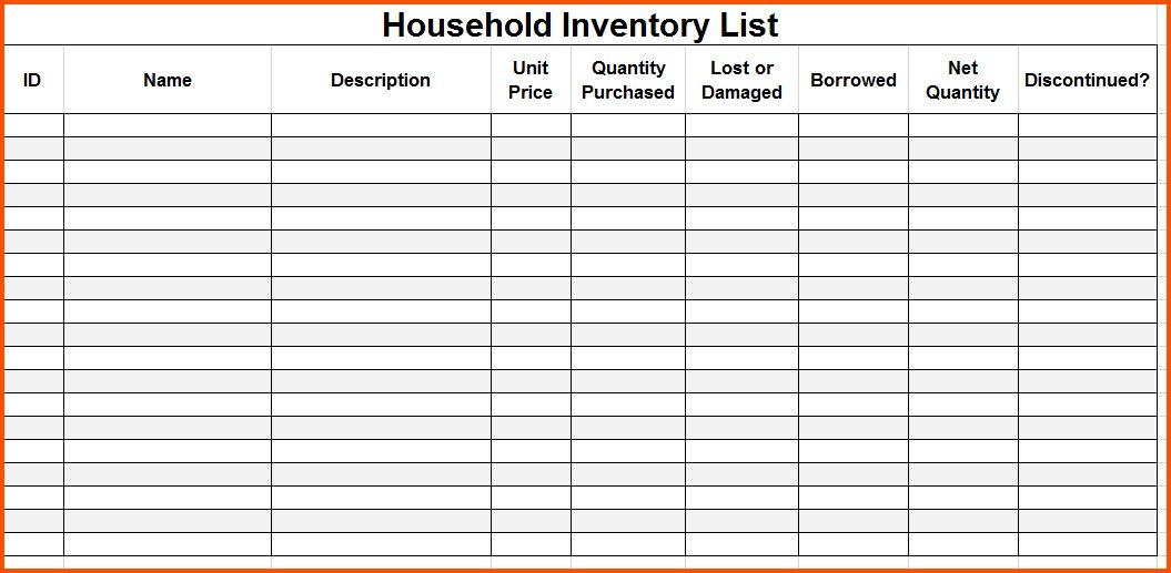 household inventory list template templatebillybullock - inventory list form