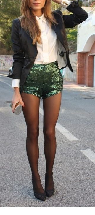I like the green glitter shorts