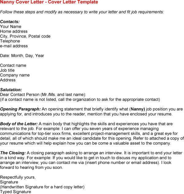 nanny cover letter resume cv cover letter