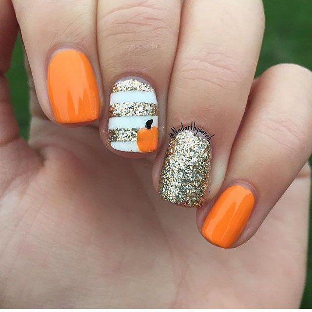 Adorable pumpkin nails by @nailartbysarah_ -K #naildesigns #cutenail #cutenails #polish #nailpolish #beautiful #pretty #cute #fallnails…
