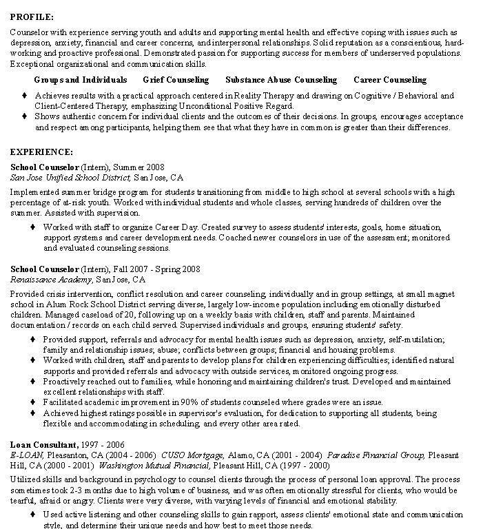 Sample Counselor Resume  Career Counselor Resume