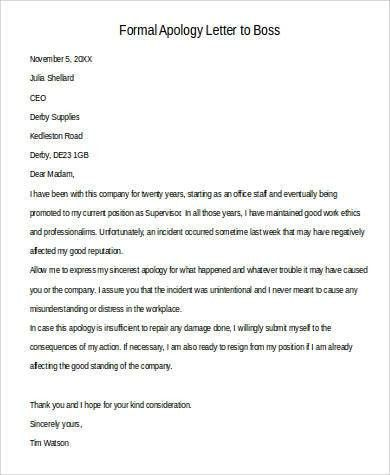 Apology letter to boss for poor performance livecareer - formal apology letters