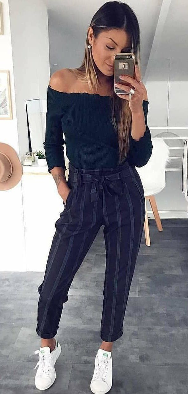 black off-shoulder top #spring #outfits