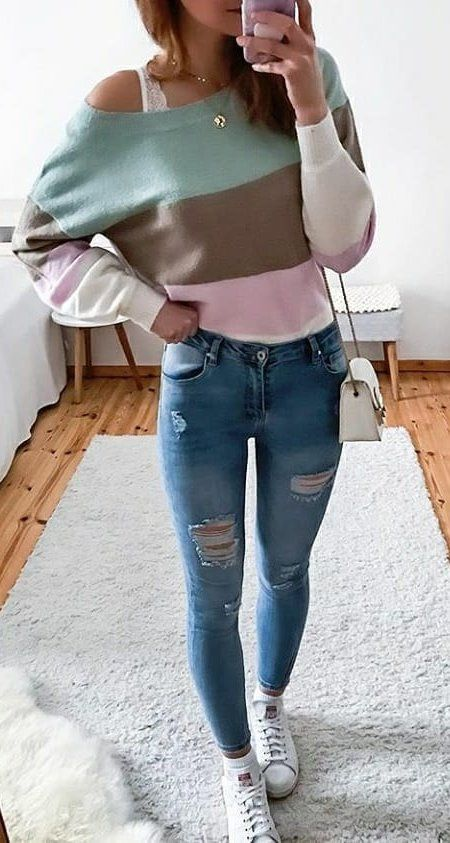 blue, brown, and pink sweat shirt #spring #outfits